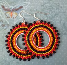 Beadwork Earrings Night Fire Multicolored Bohemian Earrings by WorkofHeart