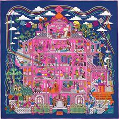 2015 S/S | La Maison des Carrés | Carré en twill de soie, roulotté à la main (90 x 90 cm) | Le plus court chemin vers le style | De Pierre - Marie | Réf. : H002941S 08 Marine/Rose/Vert | €330