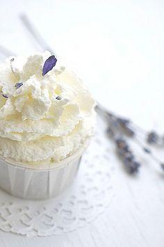 Dark Cocoa Cupcake W/ Lavender Whipped Cream