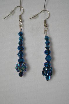 Sparkling Rhinestone Deep Blue Earrings.  Navy Blue Earrings by SKDesignsCo on Etsy