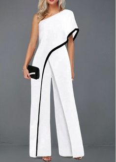 One Sleeve Contrast Piping White Jumpsuit One Sleeve Contrast Piping White Jumpsuit – Inspirational Fashions LLC - Jumpsuits and Romper Classy Dress, Classy Outfits, Chic Outfits, Fashion Outfits, Womens Fashion, All White Party Outfits, Wedding Outfits For Women, Fashion Wear, Fashion Jewelry