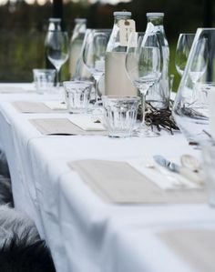 A Rustic Lunch - white linen with Duralex glasses