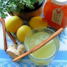 I came across this in a magazine giving ideas for healthy teas. I made this up and found it great either hot or cold. A nice change from ordinary lemon tea for when you have a cold or flu or even just to have hot on a cold night as a comfort
