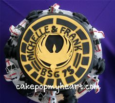Battle Star Galactica!!!! This was our groom's cake!!