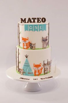 Forest critters birthday cake, fox, squirrel, tent, twigs, banner