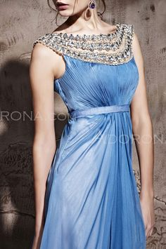 Egyptian inspired cornflower blue gown - if you have a darker color skin and the bone structure of Cleopatra...please wear this!