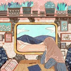 İslamic anime Cartoon Gifs, Girl Cartoon, Cute Cartoon, Hijab Drawing, Islamic Cartoon, Anime Muslim, Hijab Cartoon, Islamic Art, Doodle Art