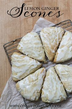 Easy Lemon Ginger Scones | These have the most amazing taste from the fresh lemon peel and juice! | onsuttonplace.com