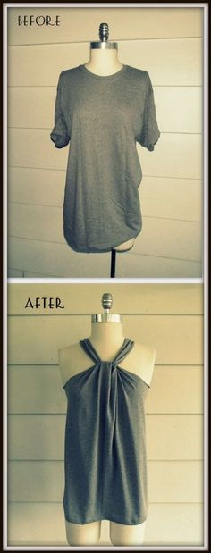 Turn And Old Shirt Into A Cute Tie Halter Top!! #Various #Trusper #Tip