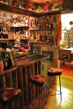 at Tikitastic's Mountain Lair -- South Bay Tiki CRawl 2012 Vintage Tiki, Vintage Bar, Tiki Art, Tiki Tiki, Bar Shed, Tiki Bar Decor, Tiki Lounge, Backyard Bar, Tiki Room