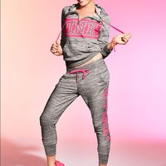 VS Pink Sweat Suit Both pieces size large. Brand new with tags. Sold out in store. Half zip and skinny collegiate pant. Can go lower through ️️ PINK Victoria's Secret Jackets & Coats