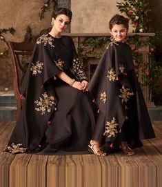 """Mommy and I wear matching party wear dresses. Don't we look lovely? Churidar, Anarkali, Lehenga, Shalwar Kameez, Stylish Dress Designs, Stylish Dresses, Mom Daughter Matching Dresses, Matching Outfits, Mother Daughter Fashion"