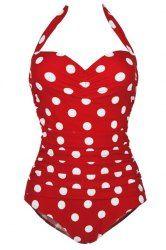 Chic Halte Polka Dot volants One-Piece Maillots de bain pour les femmes (rouge, XL), Maillots de bain, Halte Polka Dot volants One-Piece Maillots de bain