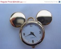 Vintage Mickey Mouse Napier for Disney Watch Pendant Vintage Jewelry Signed Disney Jewellery on Etsy, $18.00