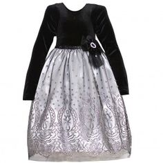 Good Lad Little Girls Black Velvet Silver Embroidered Christmas Dress 4-6X