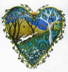 Heart art print. 'Snow Drop Wood'.  By Amanda Clark.