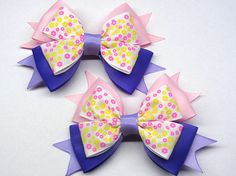 Light pink hair bow Pigtail bow Little girls hairbow Simple