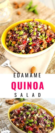 This delicious Edamame Quinoa Salad is loaded with ingredients that will leave you feeling your best! Protein packed edamame and quinoa are combined with cabbage, red pepper, pineapple, raisins, and almonds and then tossed in a zippy dressing. This is a delicious vegan salad that is guaranteed to fuel your day! Make Ahead Lunches, Quinoa Salad Recipes, Healthy Diet Plans, Edamame, Healthy Salads, Tossed, Almonds, Vegan Gluten Free, Pineapple