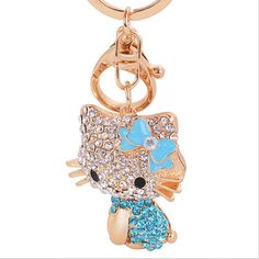 New Arrival Fashion Brand Animal Keychain Cat Keyring Charming Lady 's Gift With Clean Crystal Keychain Bag Accessoires(China (Mainland))
