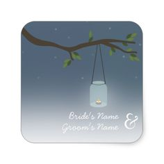 Mason Jar Evening Outdoor Wedding Sticker