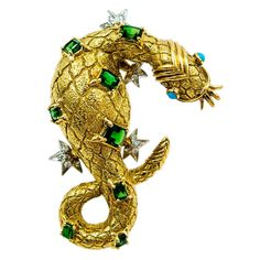Whimsical Tiffany & Co. Schlumberger Tourmaline Turquoise Gold Dragon Pin | From a unique collection of vintage brooches at https://www.1stdibs.com/jewelry/brooches/brooches/
