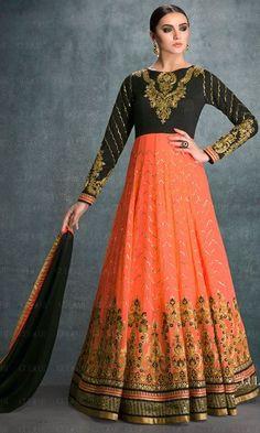 Black and Peach Hued Floor Length Designer Anarkali Suit-