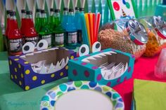 If you want to get theme-y, a monster bash is a fun way to go with tons of budget-friendly ideas. These cute utensil holders are really just empty tissue boxes. // First Birthday Party Ideas Little Monster Birthday, Monster 1st Birthdays, Monster Birthday Parties, First Birthday Parties, First Birthdays, 1st Birthday Themes, Kids Party Themes, Baby First Birthday, Party Ideas
