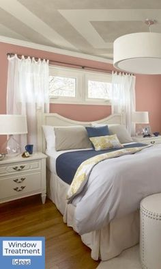 # bedroom Great idea for basement or bedroom with small Windows. Plus i like the idea of using the yellow gold comforter inside out where u see just a subtle amount of pattern in the comforter & pillow. That might be handy if u get a stain on the outsi Window Above Bed, Small Window Curtains, Curtains For Basement Windows, Curtains For Short Windows, Window Blinds, Small Window Treatments, Basement Window Treatments, Window Coverings, Small Basement Bedroom