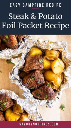These Garlic Butter Steak and Potato Foil Packets are an easy family dinner recipe for summer. Cook them on the grill/campfire or in the oven – just add a vegetable or salad and your dinner will be ready in a flash! Cooking steak and potatoes together in a foil packet makes dinner on the grill (or the fire) so easy and flavorful. | #dinner #easydinner #recipe #easyrecipes #steak #foilpackets #grilling #camping #campfirecooking #campingfood #campingrecipes #campingtips Easy Camp Dinners, Easy Campfire Meals, Campfire Food, Easy Family Dinners, Quick Meals, Steak Foil Packets, Foil Packet Potatoes, Foil Packet Dinners, Camping Recipes