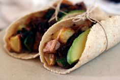 Tacos With Spinach, Mushroom, Potato, and Caramelized Onions [Vegan] | One Green Planet