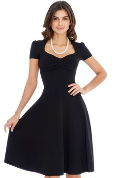 Pull on style Short sleeved Full skirt Sweetheart neckline Comes with a tie Textured Side seam length from underarm to hem is Skater Dress, Work Wear, Texture, Elegant, Retro, Formal, Skirts, Outfits, Clothes