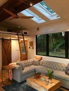 A Stunning Tiny House On Wheels By Heirloom Called The Hawaii I Like Skylights Picture Windows Barn Door And Full Sized