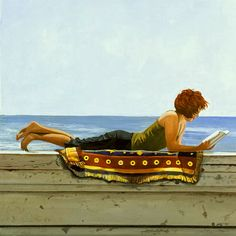 Reading on the seawall by Judi A. Gorski born in New York, USA living in San Fransisco, USA