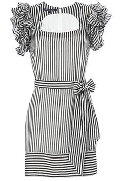 Stripe overload, but I love, love, love! Pretty Dresses, Blue Dresses, Dress Outfits, Fashion Outfits, Classic Outfits, Dress To Impress, Designer Dresses, Short Sleeve Dresses, How To Wear
