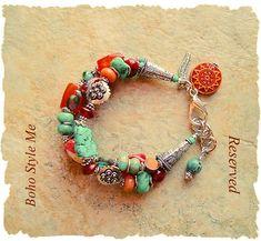 Reserved  Boho Southwest Bracelet Turquoise Jewelry Aztec