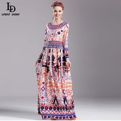 Women Elegant Long Sleeve Gorgeous Beading Geometric Floral Printed Long Dress $85.13 => Save up to 60% and Free Shipping => Order Now! #fashion #woman #shop #diy www.clothesdeals....