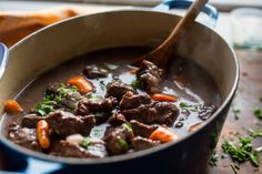 It would be hard to find a simpler meal than Mr. Claiborne's hearty beef stew, which goes beautifully with buttered noodles and a stout glass of red wine. (Or, for the children, a glass of milk.) (Photo: Andrew Scrivani for The New York Times)