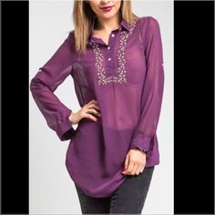 Purple Embroidered Long Sleeve Collar Blouse. Elegant embroidered long sleeve shirt. Can be worn with skinny jeans, leggings, jeggings or as a coverup. Available sizes 1S, 1M, and 1L. DO NOT BUY THIS LISTING. Please let me know and i will make a seperate listing for you. Happy Poshing!! Tops Blouses