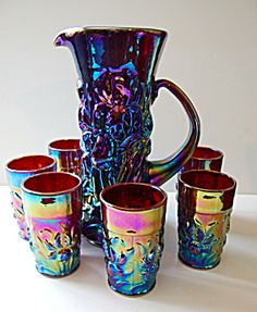 Pitcher, Tumbler Set Red Carnival Glass