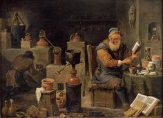 La alquimia según David Teniers el Joven(siglo XVII).   Matemolivares