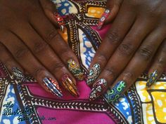 African print nails from Africa Fashion Week (NY) How To Do Nails, Fun Nails, Pretty Nails, Happy Nails, Tribal Nails, Nail Patterns, Pattern Nails, Africa Fashion, Stiletto Nails