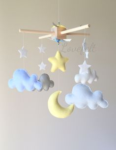 Baby Mobile   Cloud Mobile   Moon Clouds Mobile   Yellow And Gray Mobile