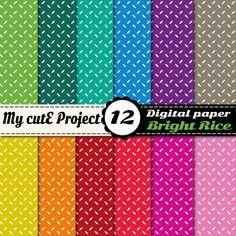 Grains de riz couleurs vives - papier digital - a4 et 12x12 - 12 couleurs - scrapbooking
