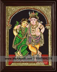 Traditional Handmade Krishna Rukmani Tanjore Painting crafted on plywood with 22 carat gold foil, semi-precious stones, paints and framed with best Teak Wood. Kerala Mural Painting, Tanjore Painting, Krishna Painting, Krishna Hindu, Radhe Krishna, Pooja Room Design, Ethnic Home Decor, God Pictures, Traditional Paintings