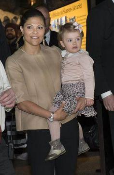 Crown Princess Victoria and Princess Estelle at the Skansen Aquarium on April 16, 2014