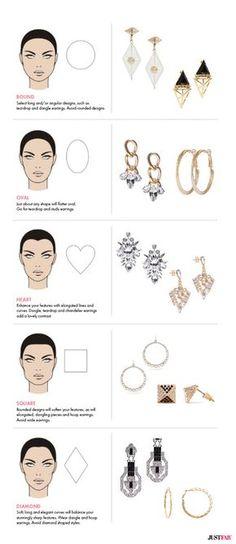 The Best Earrings For Your Face Shape Via Fashion Infograhics