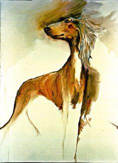 Saluki The World's Oldest Breed Watercolor Fine Art dog by ratafia, $44.60