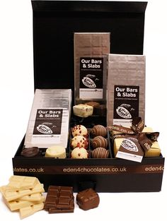 Experience The Chocolate Hamper www.eden4chocolates.co.uk Chocolate Hampers, Chocolate Gifts, Luxury Chocolate, Belgian Chocolate, Handmade Chocolates, Delicious Chocolate, Food, Meals, Yemek
