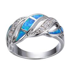 Blue Opal White Crystal Women's Silver Plated Wedding Band