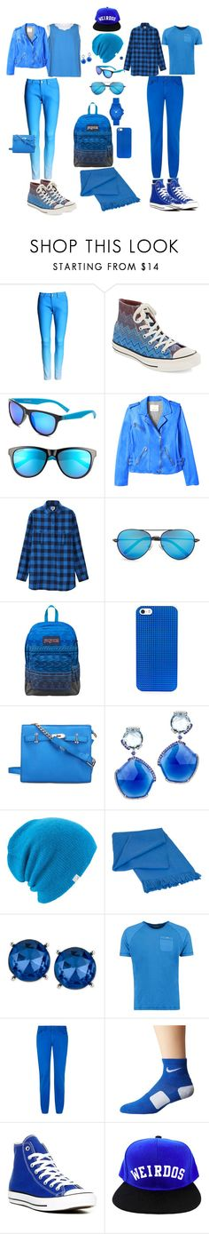 """""""Cool Blue"""" by jenabbyreid on Polyvore featuring Converse, Rebecca Taylor, Uniqlo, Linda Farrow, JanSport, BaubleBar, Coal, Elvang, Kenneth Cole and Armani Jeans"""